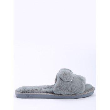 Open Toe Pom Pom Furry Slippers - GRAY GRAY