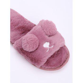 Open Toe Pom Pom Furry Slippers - RUSSET RED RUSSET RED