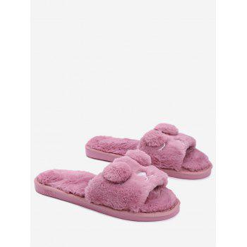 Open Toe Pom Pom Furry Slippers - RUSSET-RED RUSSET RED