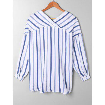 High Low Drop Shoulder Striped Blouse - BLUE STRIPE M