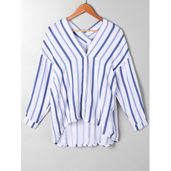 High Low Drop Shoulder Striped Blouse - BLUE STRIPE L