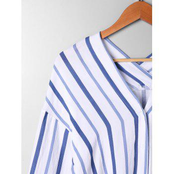 High Low Drop Shoulder Striped Blouse - BLUE STRIPE XL