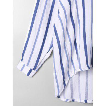 High Low Drop Shoulder Striped Blouse - BLUE STRIPE 2XL