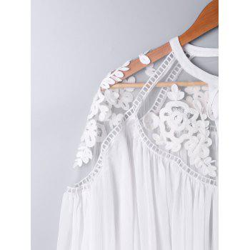 Lace Panel Floral Embroidered Oversize Blouse - WHITE XL
