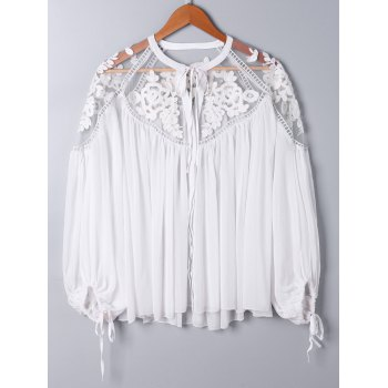 Lace Panel Floral Embroidered Oversize Blouse - WHITE WHITE