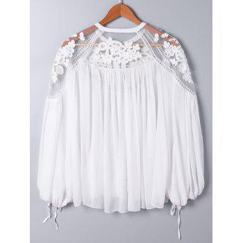 Lace Panel Floral Embroidered Oversize Blouse - 2XL 2XL