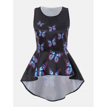 Butterfly Print High Low Sleeveless Blouse - BLACK M