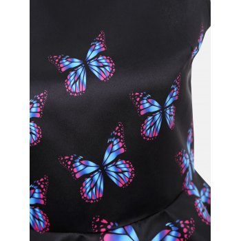 Butterfly Print High Low Sleeveless Blouse - BLACK L