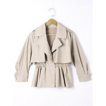 Epaulet Elastic Waist Long Sleeve Overlay Jacket - LIGHT KHAKI LIGHT KHAKI