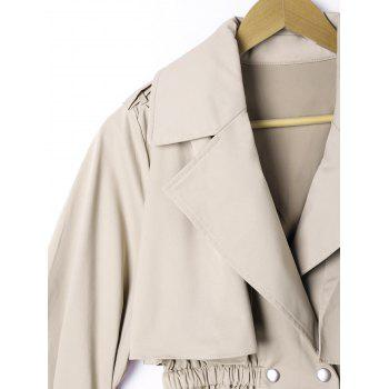 Epaulet Elastic Waist Long Sleeve Overlay Jacket - LIGHT KHAKI XL