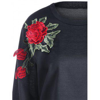 Floral Embroidery Sweatshirt - BLACK BLACK