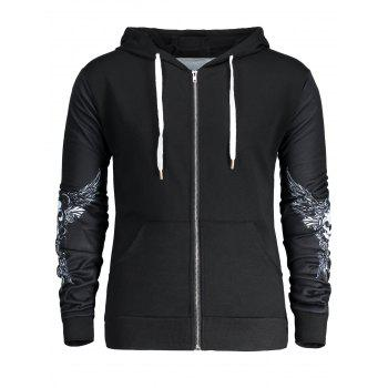 Skull Wings Printed Halloween Zip Up Hoodie - BLACK BLACK