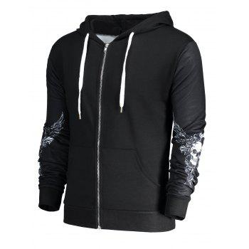 Skull Wings Printed Halloween Zip Up Hoodie - BLACK XL