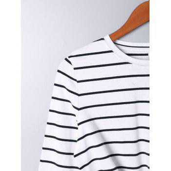 Long Sleeve Front Knot Striped T-shirt - M M