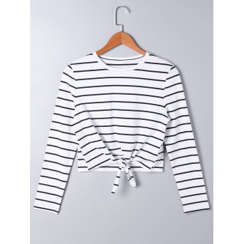 Long Sleeve Front Knot Striped T-shirt - STRIPE XL