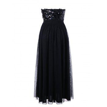 Strapless Sequin Maxi Party Evening Dress - BLACK XL