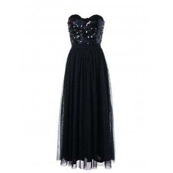 Strapless Sequin Maxi Party Evening Dress - BLACK BLACK