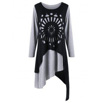 Plus Size Openwork Asymmetric Tee Dress - BLACK AND GREY BLACK/GREY