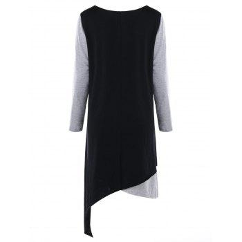 Plus Size Openwork Asymmetric Tee Dress - BLACK/GREY BLACK/GREY
