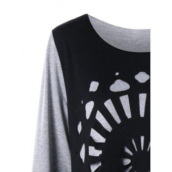 Plus Size Openwork Asymmetric Tee Dress - BLACK/GREY 4XL