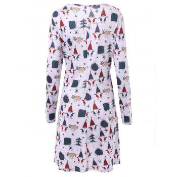 Plus Size Christmas Father Long Sleeve Dress - 3XL 3XL