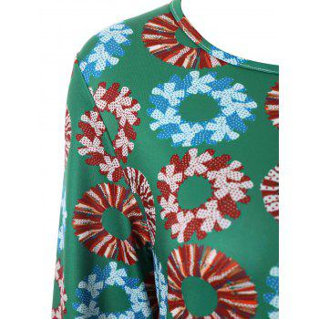 Plus Size Christmas Garland Printed Long Sleeve Dress - GREEN 4XL