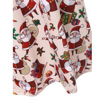 Plus Size Santa Claus Christmas Dress with Sleeves - APRICOT 3XL