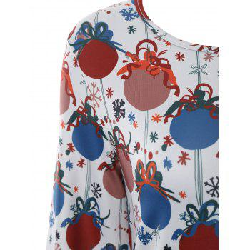Plus Size Christmas Bell Printed Dress with Sleeves - 2XL 2XL