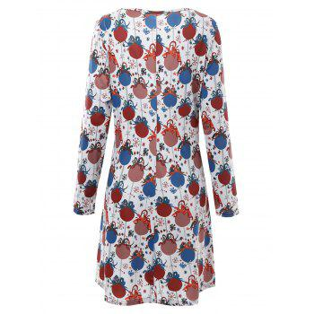 Plus Size Christmas Bell Printed Dress with Sleeves - GREY WHITE 3XL