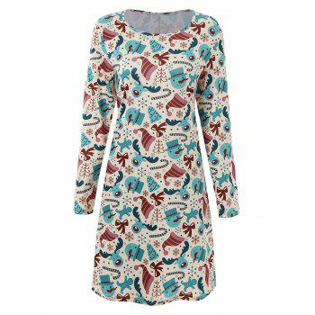 Plus Size Long Sleeve Dress for Christmas Day - MULTICOLOR multicolorCOLOR
