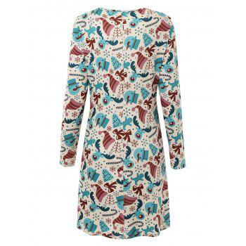 Plus Size Long Sleeve Dress for Christmas Day - multicolorCOLOR 3XL