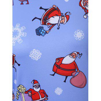 Plus Size Christmas Father Snowflake Printed Dress - CLOUDY 2XL