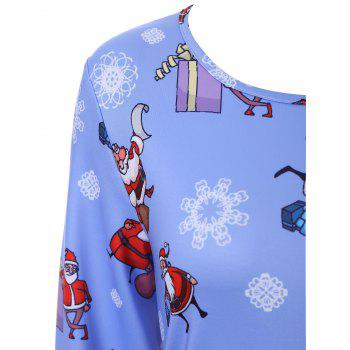 Plus Size Christmas Father Snowflake Printed Dress - CLOUDY 4XL