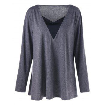 Plus Size Long Sleeve V Neck Tunic T-shirt - GRAY 2XL