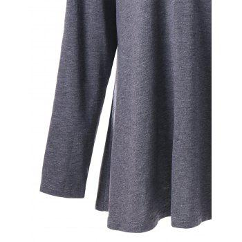 Plus Size Long Sleeve V Neck Tunic T-shirt - GRAY 3XL