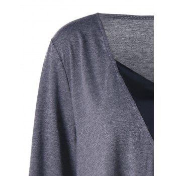 Plus Size Long Sleeve V Neck Tunic T-shirt - GRAY 5XL