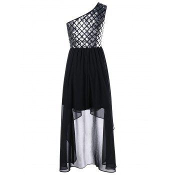 One Shoulder Sequined Evening Party Dress - M M