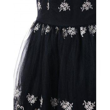 Spaghetti Strap Embroidered Mini Party Cocktail Dress - BLACK XL