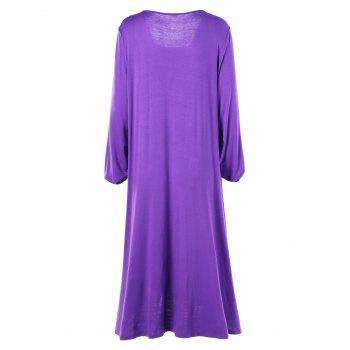 Plus Size Asymmetrical Midi T-shirt Dress - PURPLE PURPLE