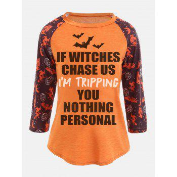 Raglan Sleeve Personalized Sentence Print Halloween T-shirt - ORANGE ORANGE