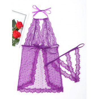 Halter Mesh See Through Babydoll - PURPLE XL