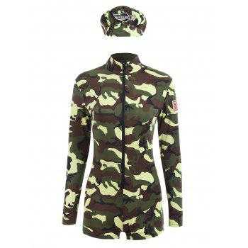Camouflage Long Sleeve Soldier Cosplay Costume - ACU CAMOUFLAGE M