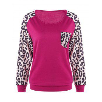 Patch Pocket Leopard Sweatshirt - PLUM M
