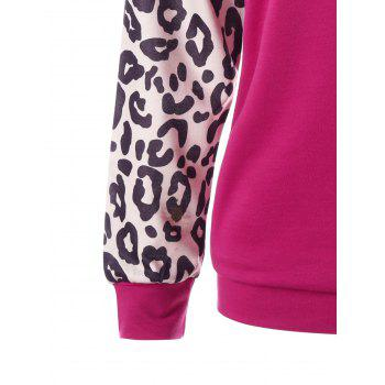 Patch Pocket Leopard Sweatshirt - PLUM XL