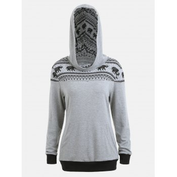 Kangaroo Hoodie with Ethnic Elephant Print - GRAY M