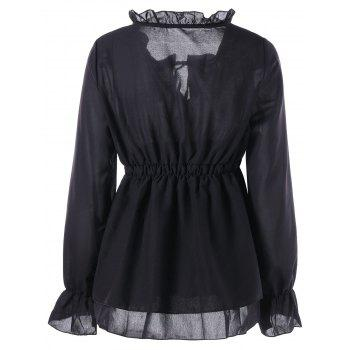 Ruffle Collar Peplum Blouse - BLACK M