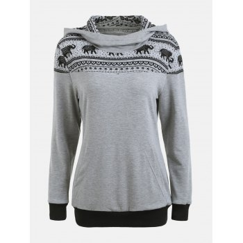 Kangaroo Hoodie with Ethnic Elephant Print - GRAY GRAY