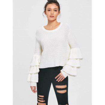 Layered Flare Sleeve Sweater - WHITE WHITE