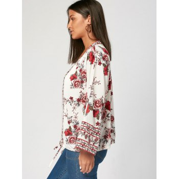 V Neck Flower Print Zip Up Blouse - S S