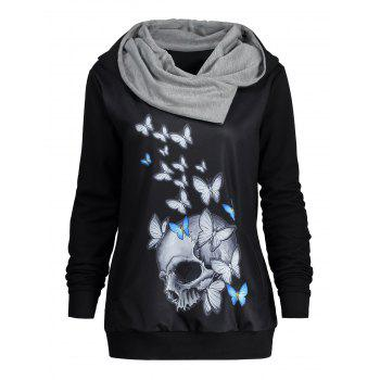 Heaps Collar Halloween Butterfly Skull Print Hoodie - BLACK L